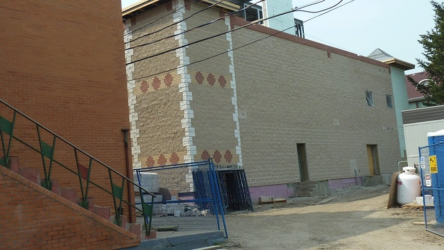 June 7, 2011 - Scaffolding comes down from the back of the building